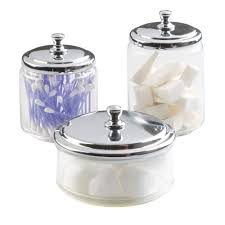 Glass Bathroom Storage Jars Interdesign York Bathroom Vanity Glass Apothecary Jar