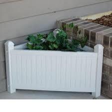dura trel 28 in x 16 in white vinyl planter box 11124 the home