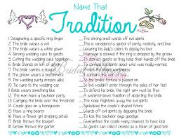 name that tradition why do we do that bridal shower game