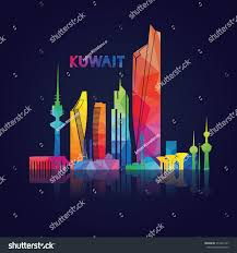 vector illustration kuwait city panorama colorful stock vector