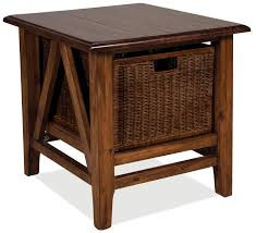 Free Mission End Table Plans by Rectangular End Table With Storage Basket By Riverside Furniture