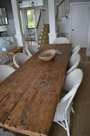 Farmhouse Table Runner Dining Table Made From Plank Boards Would Look Great In Cottage