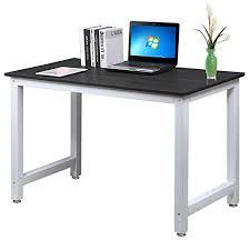 Modern Black Computer Desk Popamazing Modern Black Wood Computer Desk Home Office Metal Frame