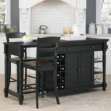 Stationary Kitchen Island by Home Styles Grand Torino Black Kitchen Island With Seating 5012