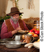 thanksgiving dinner table reenactment of the stock