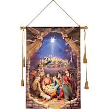 Outdoor Plastic Light Up Nativity Scene by Amazon Com Lighted Nativity Scene Hanging Canvas Home U0026 Kitchen