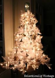 Christmas Tree Stop - white christmas tree trimmed in vintage decorations the joy of