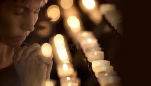 vigil lights catholic church woman praying in catholic church stock image image of church