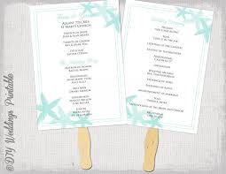 fan wedding program template fan program template starfish aqua diy wedding order of ceremony
