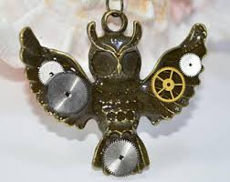 steampunk owl necklace images Owl pendant necklace etsy jpg