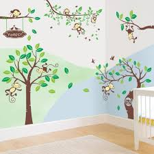 online get cheap cartoon monkey tree jungle wall stickers rainbow fox jungle zoo animals monkeys playing on the tree wall decal children kids nursery wall