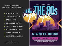 80s night music flyer template flyerheroes