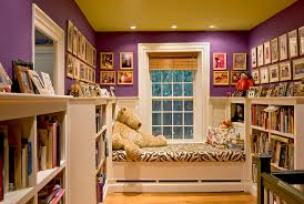 window seat reading nook at end of stair hallway traditional
