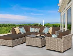 Curved Wicker Patio Furniture - tk classics monterey 7 piece sectional seating group with cushion