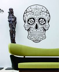 amazon com dabbledown decals sugarskull version 5 wall vinyl amazon com dabbledown decals sugarskull version 5 wall vinyl decal sticker art graphic sticker sugar skull automotive