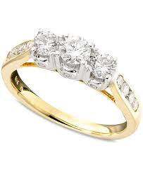 two diamond ring three diamond ring in two tone 14k gold 1 ct t w rings