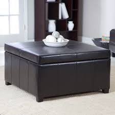 cube dark brown leather ottoman with storage on the top placed on