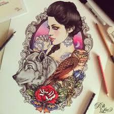 woman u0026 crow tattoo design i should do make them ravens and add it