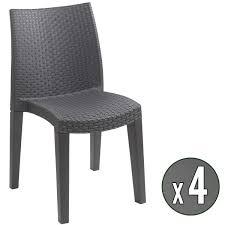 chaise tress e lot de 4 chaises de jardin anthracite en résine tressée