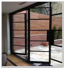 exterior patio doors gliding insect screen view from a empty