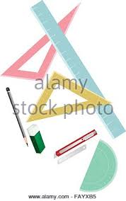 drawing equipment a collection of geometric rulers and and stock
