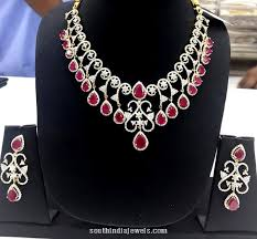 diamond ruby necklace sets images Fancy american diamond ruby necklace south india jewels jpg