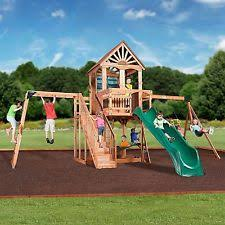 Backyard Forts Kids Playground Wood Swing Set Cedar Playset Outdoor Backyard Play