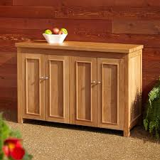 Patio Sideboard Table Teak Outdoor Buffet With Storage Outdoor