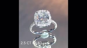 cushion cut diamond engagement rings 2 50 ct cushion cut diamond engagement ring youtube