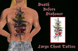 second life marketplace death before dishonor large chest tattoo