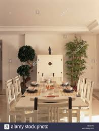 cream table and chairs in modern dining room with topiary tree and