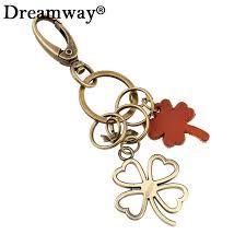 unique key ring unique key holder leather four leaf clover keychain women bag