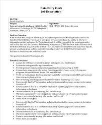 Data Entry Clerk Job Description Resume by Sample Data Entry Job Description 8 Examples In Pdf Word