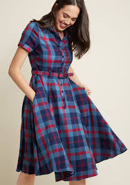 collectif cherished era shirt dress in blue plaid modcloth
