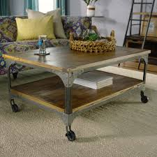 industrial coffee table with wheels wood and metal aiden coffee table world market