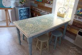 painting a table with chalk paint chalk painted stenciled and distressed dumpster table pretty