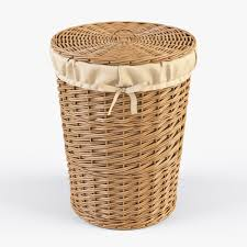 3d model wicker laundry basket 03 set 3 color cgtrader
