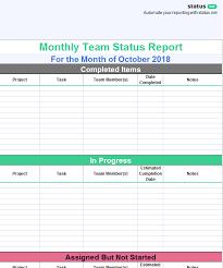 team progress report template 1 useful team status report template free