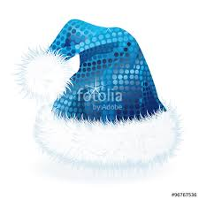 blue santa hat blue sequin santa hat with fur trim isolated stock image and