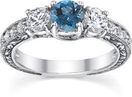 engagement rings with blue stones 1 carat blue and white three engagement ring 14k