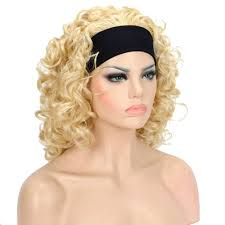 headband wigs short curly blonde synthetic headband wig hair extensions wigs