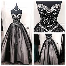 black white tulle long evening prom gowns sweetheart beaded bodice