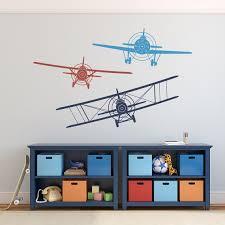 Airplane Kids Room by Biplane Monoplane Wall Decal 3 Airplanes Wall Decal Wall Decals