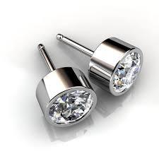 diamond studs earrings 14kt white gold bezel set diamond stud earrings union diamond