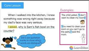 use quotation marks to show dialogue learnzillion