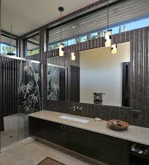 grey granite bathroom countertops connected by double white sinks