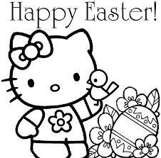easter coloring hello kitty coloring pages