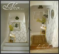diy stairwell landing faux wallpaper tutorial by jillian