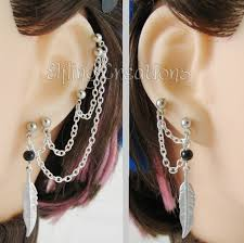 earrings with chain ear cartilage ipernity silver and black feather five piercing and lobe