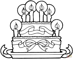 birthday cake with ribbons coloring page free printable coloring